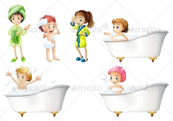 GraphicRiver Kids taking a bath 7860592