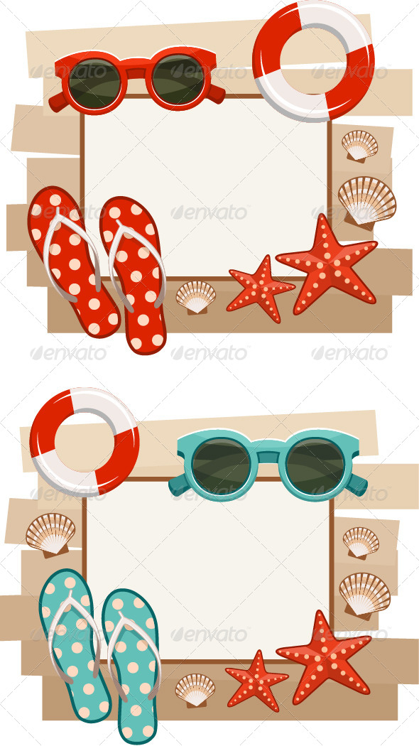 GraphicRiver Summer Frame with Beach Symbols 7860597