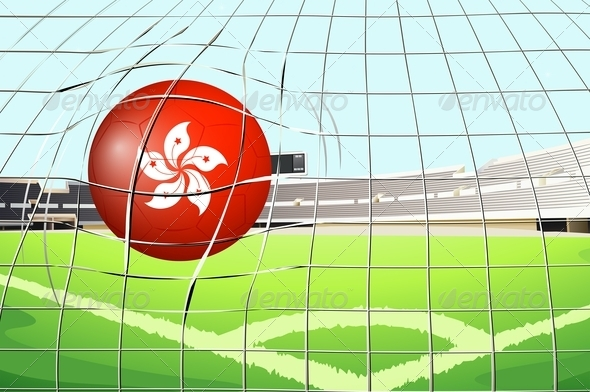 Soccer ball on field with the flag of Hong Kong