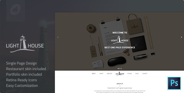 Lighthouse | Single Page PSD Template - Creative PSD Templates
