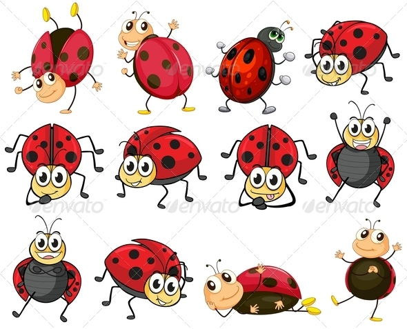 GraphicRiver Cute Ladybugs Set 7860783