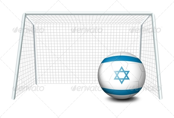 Flag of Israel Soccer Ball in Net