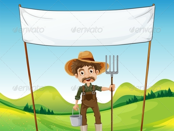 GraphicRiver Farmer below the empty banner 7860857