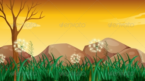 GraphicRiver Big rocks and bare tree 7860895