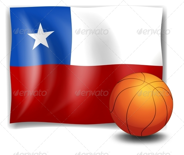 Basket Ball with Flag of Chile