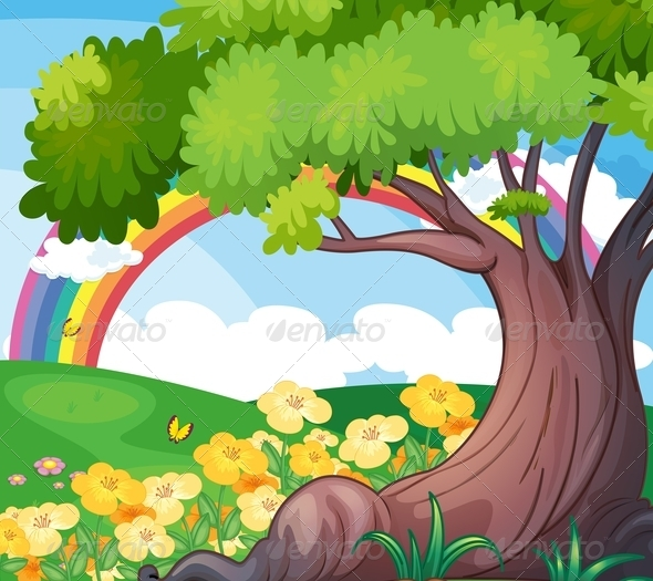 GraphicRiver Rainbow in the sky with trees and flowers 7860937