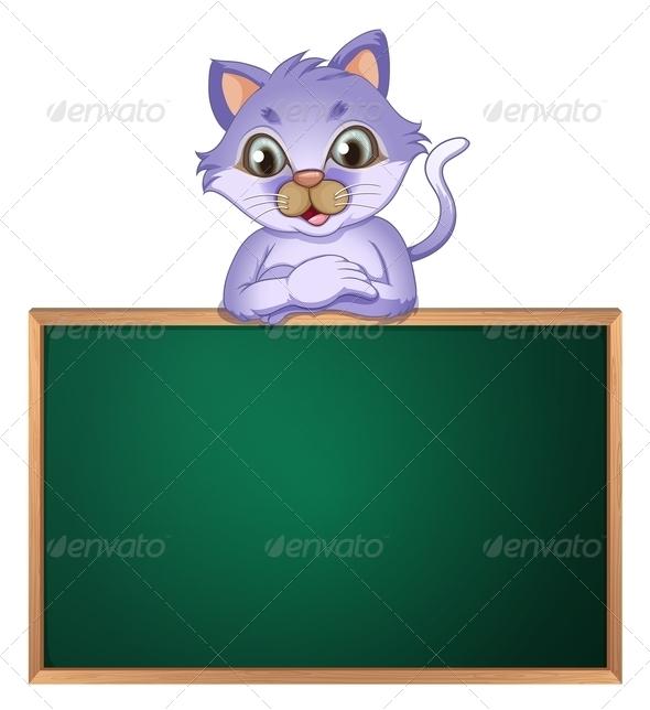 Cat leaning on empty blackboard