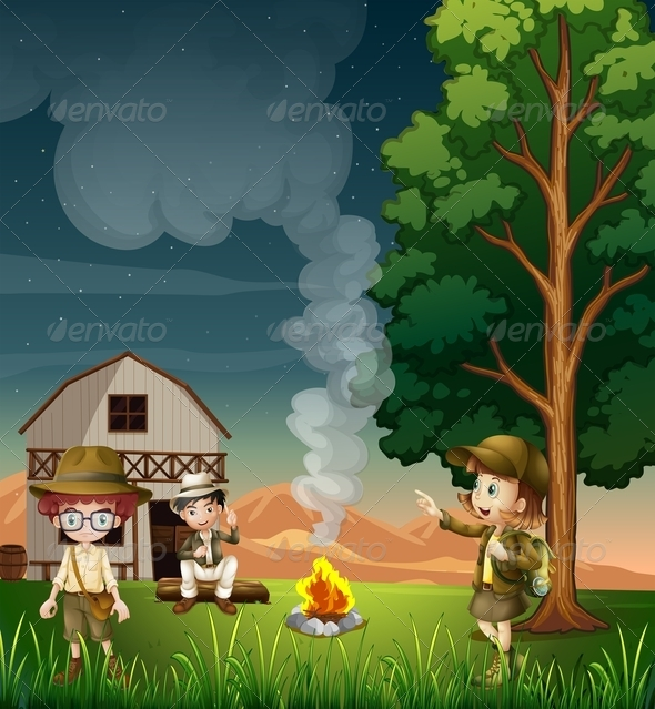 GraphicRiver Kids near the campfire 7861086