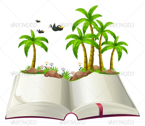GraphicRiver An open book with coconut trees and birds 7861257