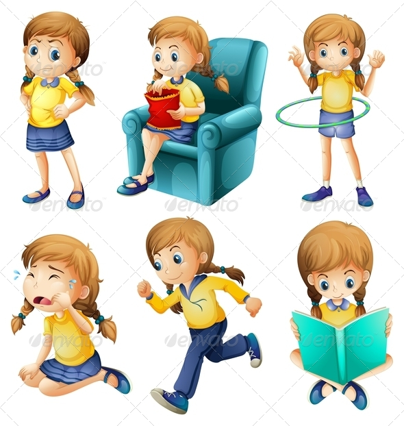 GraphicRiver Different activities of a young girl 7861575