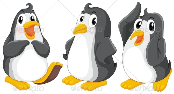 GraphicRiver Three cute penguins 7861727