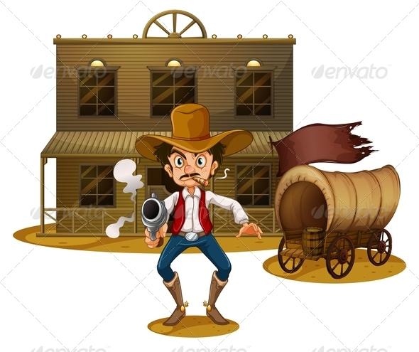 GraphicRiver Cowboy near wagon 7861740