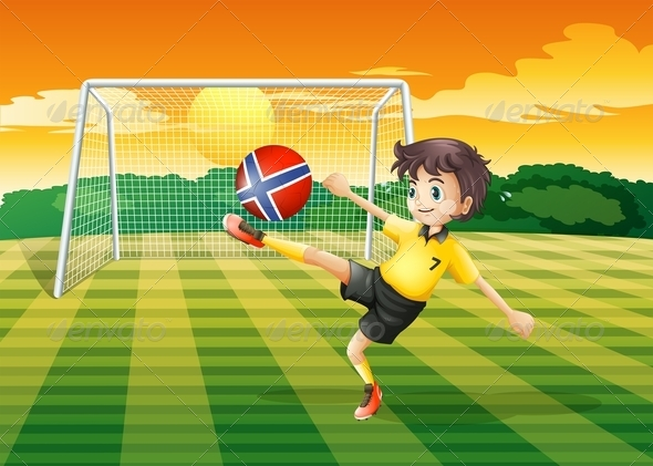GraphicRiver Girl kicking Norwegian football 7861837