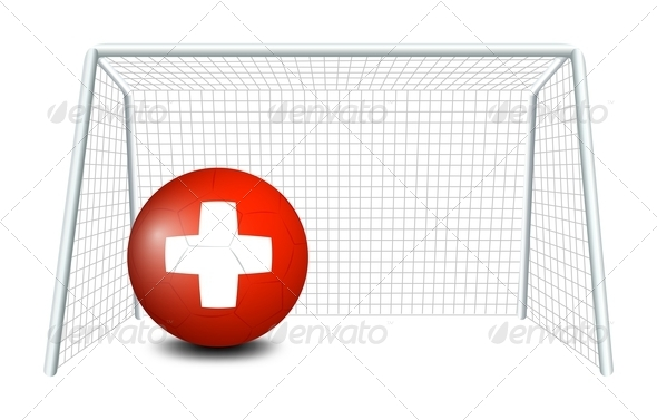 Flag of Switzerland Soccer Ball in Net