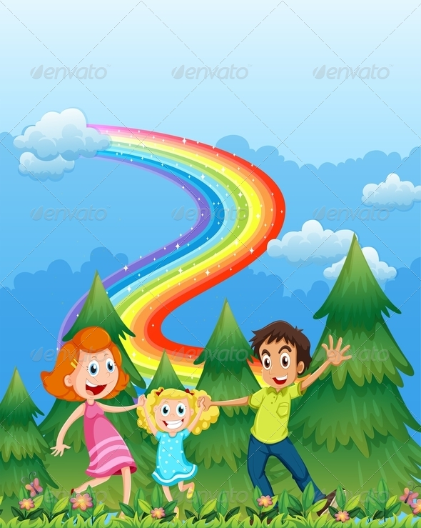 GraphicRiver Happy Family with Trees and Rainbow 7861845