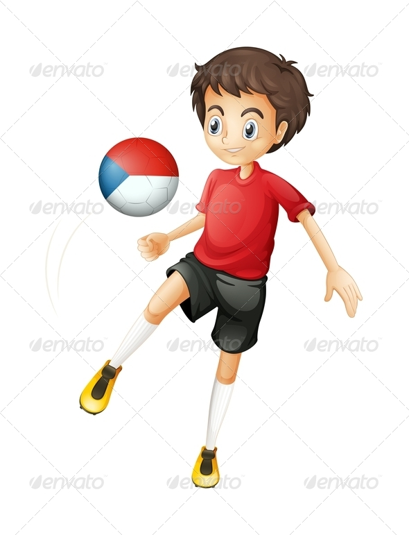 GraphicRiver Boy Playing With Czech Republic Soccer Ball 7861848