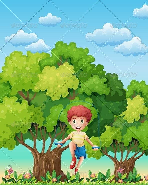 GraphicRiver A Boy Skipping Rope Near Trees 7861859