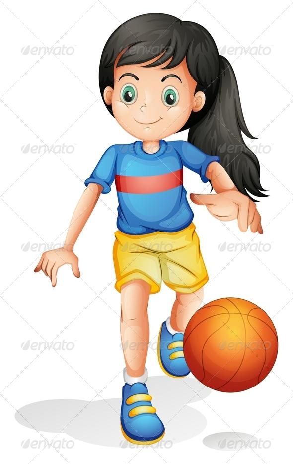 GraphicRiver Girl Playing Basketball 7861867