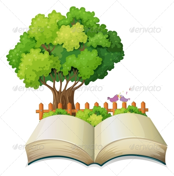 GraphicRiver Open book with tree and fence 7861891