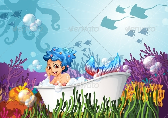 GraphicRiver Bathtub under the sea with a mermaid 7861927