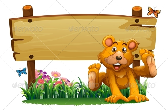 GraphicRiver Playful bear with empty wooden signboard 7862003