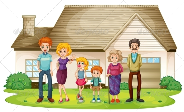 GraphicRiver Family outside their house 7862030