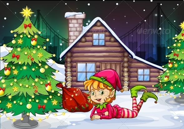GraphicRiver Female elf near with christmas tree 7862035