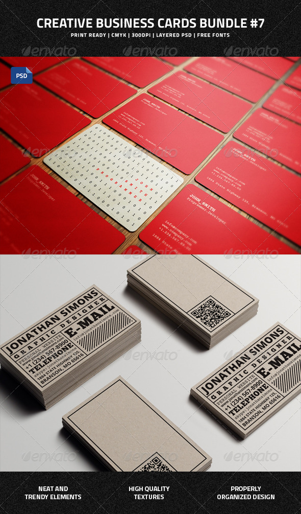 GraphicRiver Creative Business Cards Bundle #7 7846668