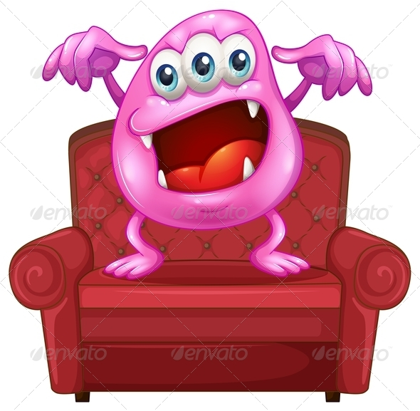 Pink Monster on Chair