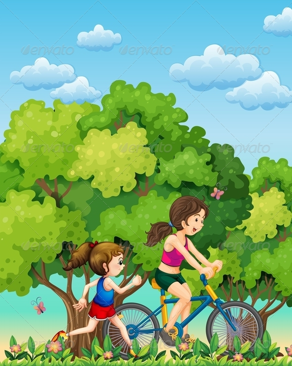 GraphicRiver Mother and daughter exercising 7862147