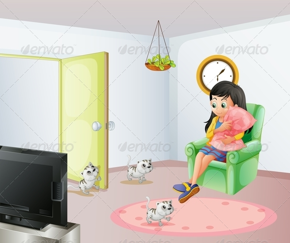 Girl in Room with Kittens