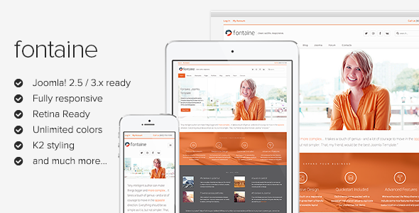 Fontaine - Responsive Joomla Template - Screenshot 01 - Fontaine Clean Responsive Joomla Template