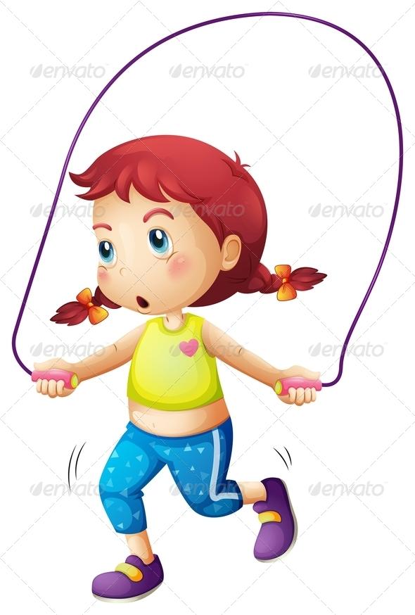 Girl playing skip rope