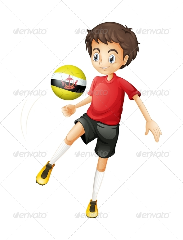 GraphicRiver Boy Playing With Brunei Soccer Ball 7862499