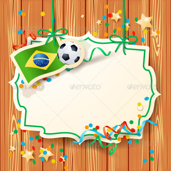 Soccer Background with Label and Brazilian Flag