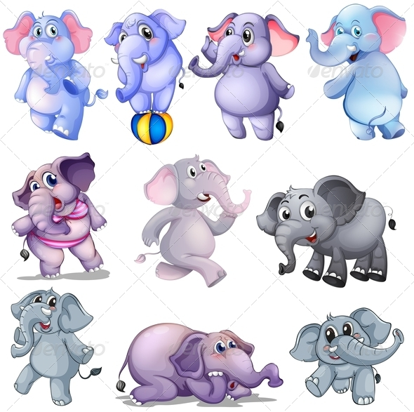 GraphicRiver Group of Elephants 7862933