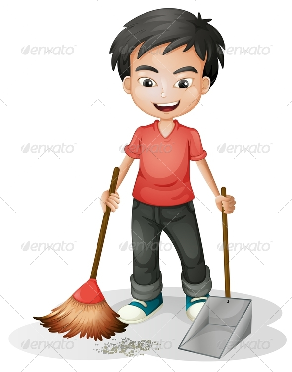 GraphicRiver Boy sweeping the dirt 7862964