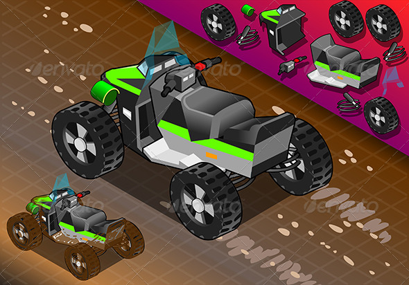 GraphicRiver Isometric Quad Bike in Rear View 7862965