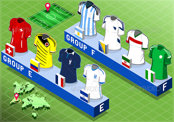 GraphicRiver Isometric Nations Groups for Soccer World Cup 7863026