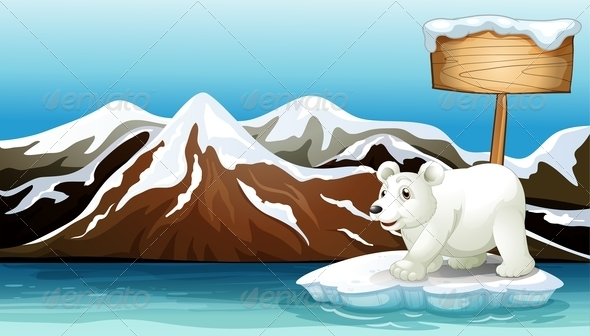 GraphicRiver Polar Bear with an Empty Signboard 7863157