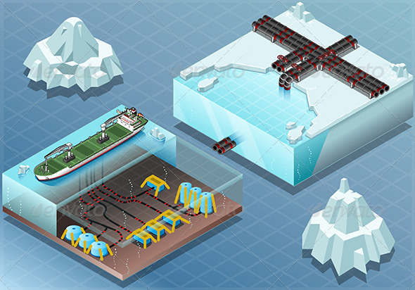 GraphicRiver Isometric Arctic Subsea Farm and Tubes 7863216