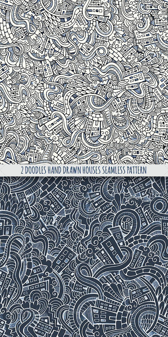 GraphicRiver 2 Doodles Houses Seamless Pattern 7863273