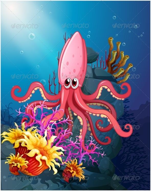 GraphicRiver Squid under the sea with corals 7863276