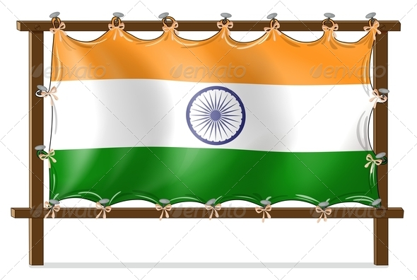 GraphicRiver Wooden frame with flag of India 7863288