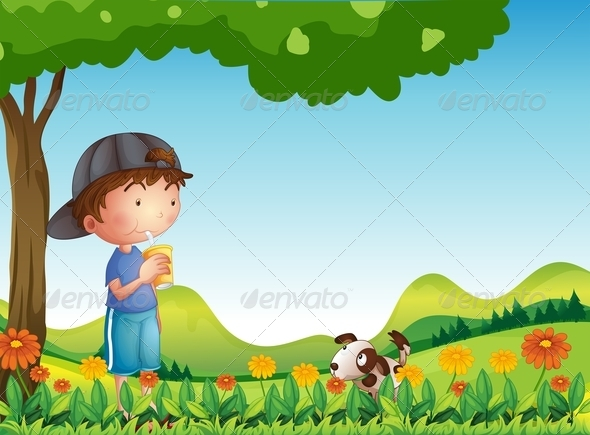 Boy under tree with his dog