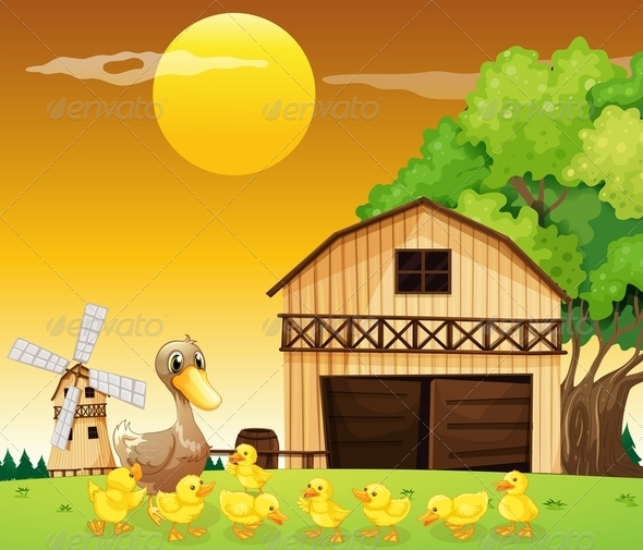 GraphicRiver Duck and her ducklings at the farmhouse 7863386