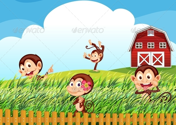 GraphicRiver Farm with monkeys 7863419