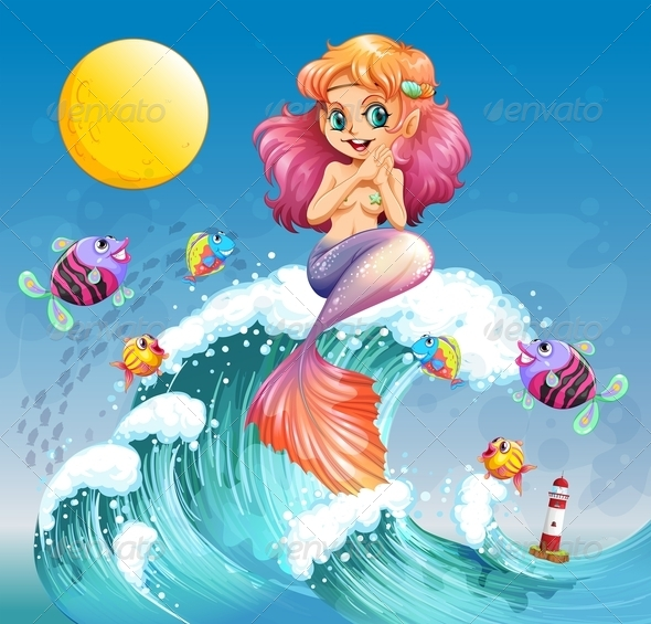 GraphicRiver Happy Mermaid Above the Waves 7863483
