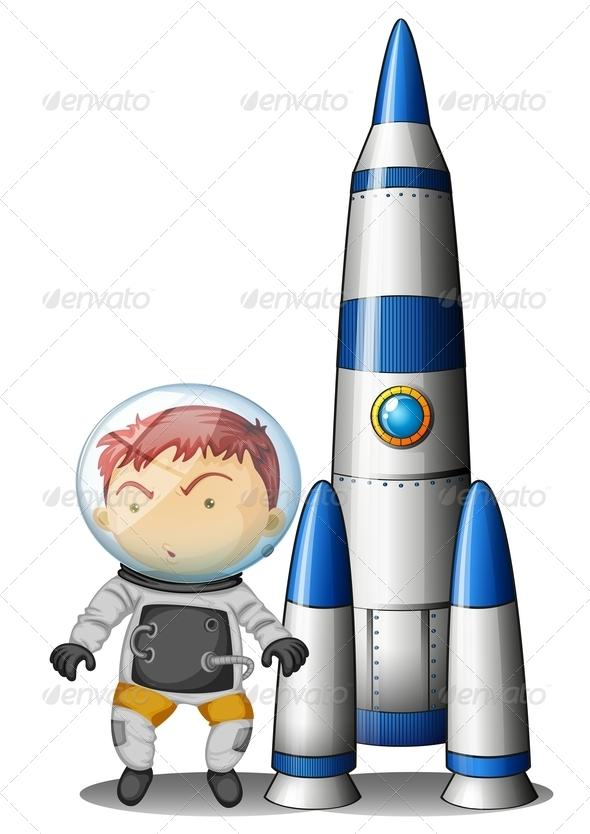 Boy beside rocket