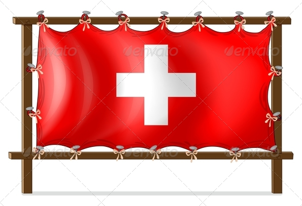 Wooden frame with flag of Switzerland